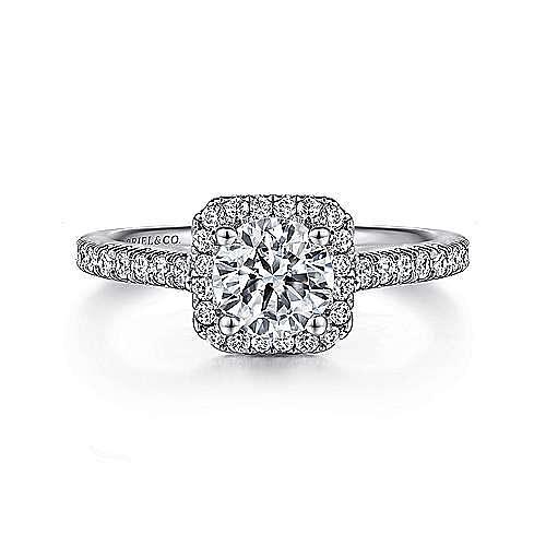 Margot 14k White Gold Round Halo Engagement Ring angle 1