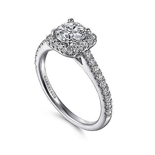 Margot 14k White Gold Round Halo Engagement Ring angle 3
