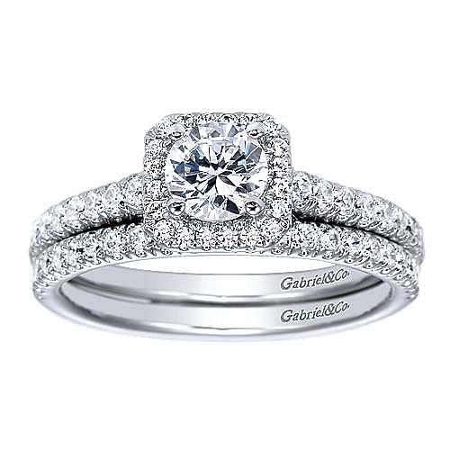 Margot 14k White Gold Round Halo Engagement Ring angle 4