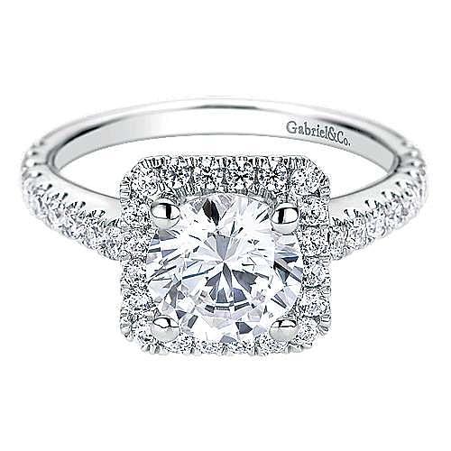 Gabriel - Margot 14k White Gold Round Halo Engagement Ring