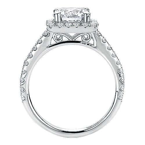Margot 14k White Gold Round Halo Engagement Ring angle 2