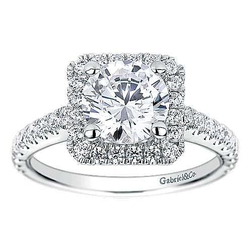 Margot 14k White Gold Round Halo Engagement Ring angle 5