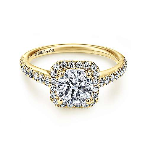 Margot 14k Yellow Gold Round Halo Engagement Ring angle 1