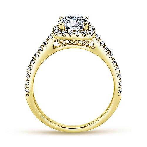 Margot 14k Yellow Gold Round Halo Engagement Ring angle 2