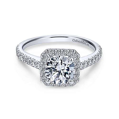 Gabriel - Margot 18k White Gold Round Halo Engagement Ring