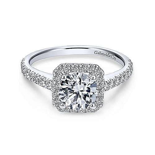 Gabriel - Margot 18k White Gold Round Halo Engagement Ring