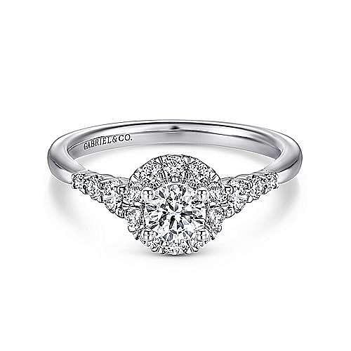 Gabriel - Maria 14k White Gold Round Halo Engagement Ring