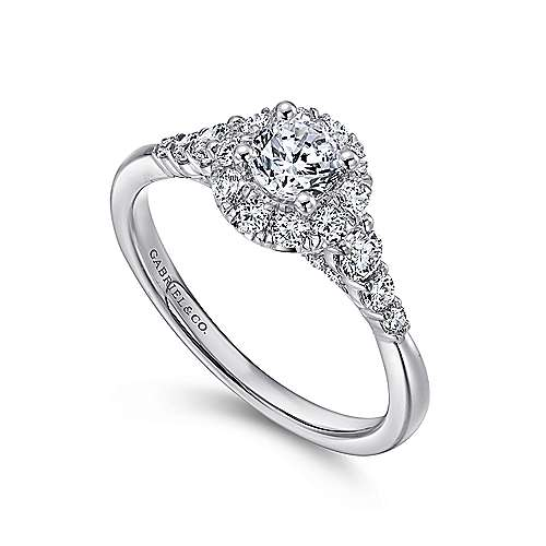 Maria 14k White Gold Round Halo Engagement Ring angle 3