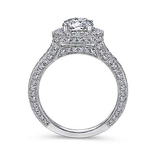 Mariah 14k White Gold Round Halo Engagement Ring angle 2