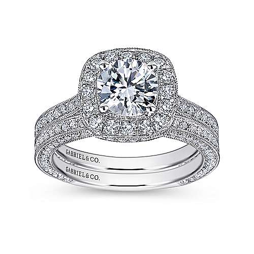 Mariah 14k White Gold Round Halo Engagement Ring angle 4