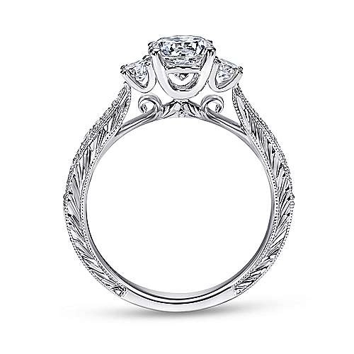 Marianna 14k White Gold Round 3 Stones Engagement Ring angle 2