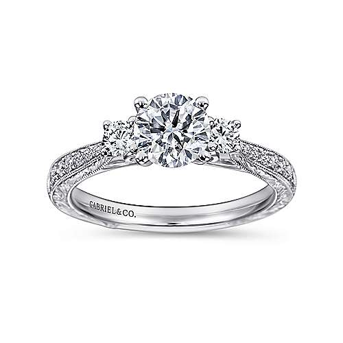 Marianna 14k White Gold Round 3 Stones Engagement Ring angle 5