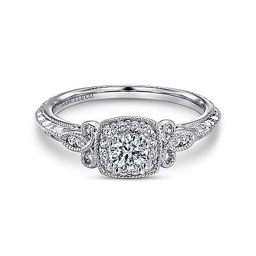 Gabriel - Marianne 14k White Gold Round Halo Engagement Ring