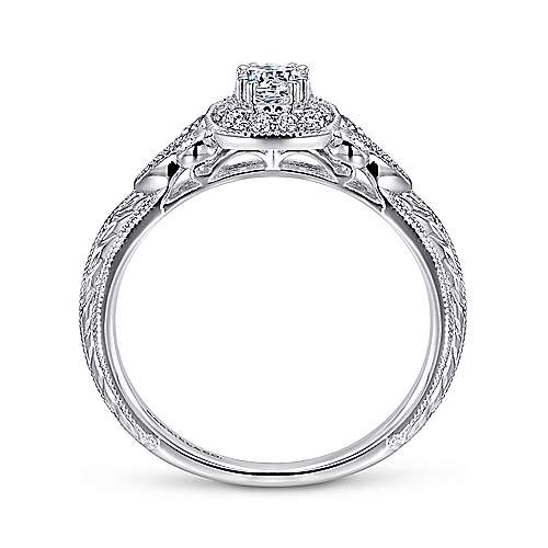 Marianne 14k White Gold Round Halo Engagement Ring angle 2