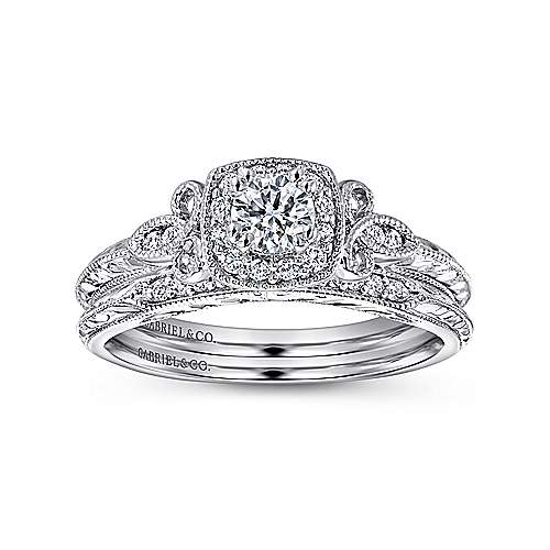 Marianne 14k White Gold Round Halo Engagement Ring angle 4