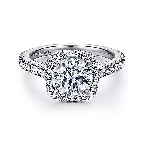 Marie 18k White Gold Round Halo Engagement Ring angle 1