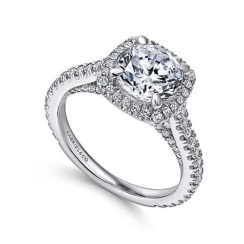 Marie 18k White Gold Round Halo Engagement Ring angle 3
