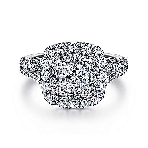 Mariella 14k White Gold Cushion Cut Double Halo Engagement Ring