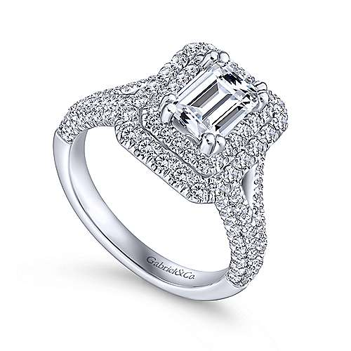 Mariella 14k White Gold Emerald Cut Double Halo Engagement Ring angle 3