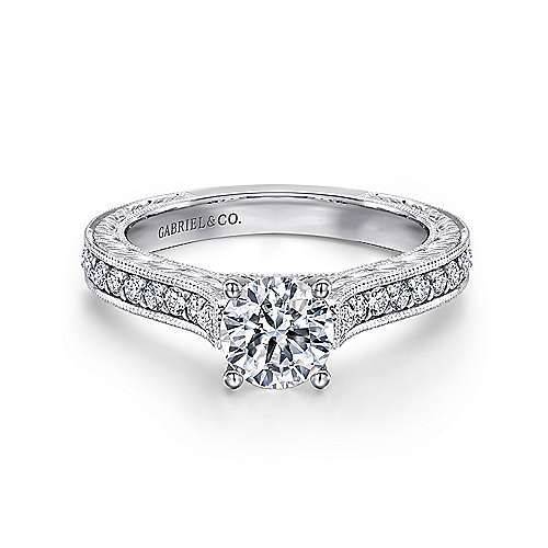 Gabriel - Marilyn 14k White Gold Round Straight Engagement Ring