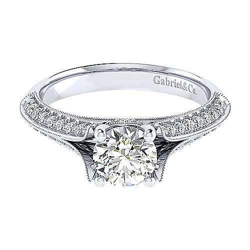 Gabriel - Marion 14k White Gold Round Split Shank Engagement Ring