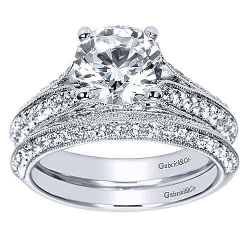 Marion 14k White Gold Round Split Shank Engagement Ring angle 4