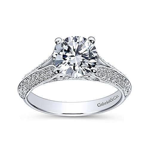 Marion 14k White Gold Round Split Shank Engagement Ring angle 5