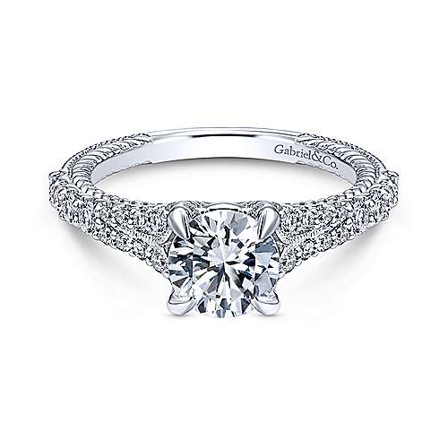 Gabriel - Marisol 14k White Gold Round Straight Engagement Ring