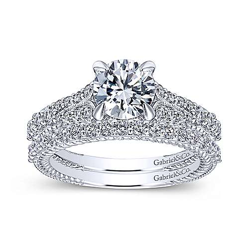 Marisol 14k White Gold Round Straight Engagement Ring angle 4
