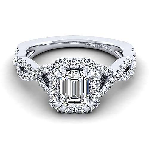 Gabriel - Marissa 14k White Gold Emerald Cut Halo Engagement Ring