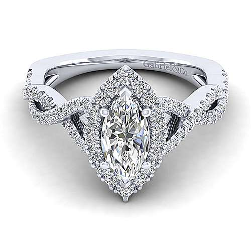 Gabriel - Marissa 14k White Gold Marquise  Halo Engagement Ring
