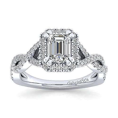 Marissa Platinum Emerald Cut Halo Engagement Ring angle 5