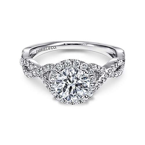 Gabriel - Marissa Platinum Round Halo Engagement Ring