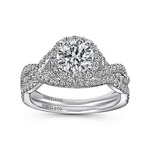 Marissa Platinum Round Halo Engagement Ring angle 4