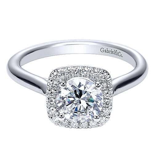 Gabriel - Marjorie 14k White Gold Round Halo Engagement Ring