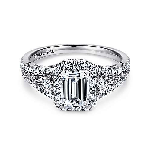 Marlena 14k White Gold Emerald Cut Halo Engagement Ring angle 1