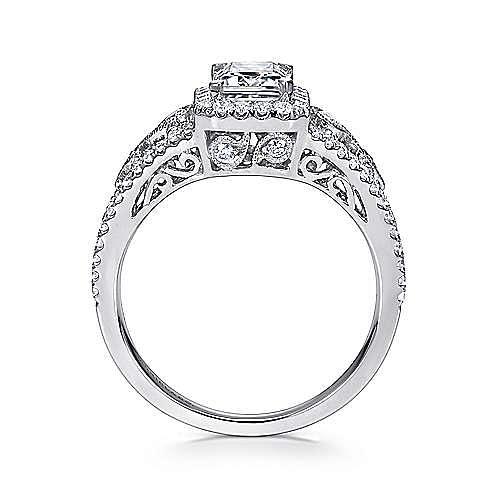 Marlena 14k White Gold Emerald Cut Halo Engagement Ring angle 2