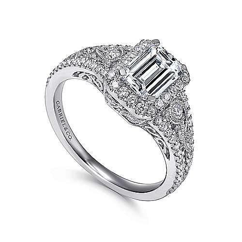 Marlena 14k White Gold Emerald Cut Halo Engagement Ring angle 3