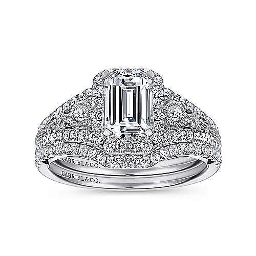 Marlena 14k White Gold Emerald Cut Halo Engagement Ring angle 4