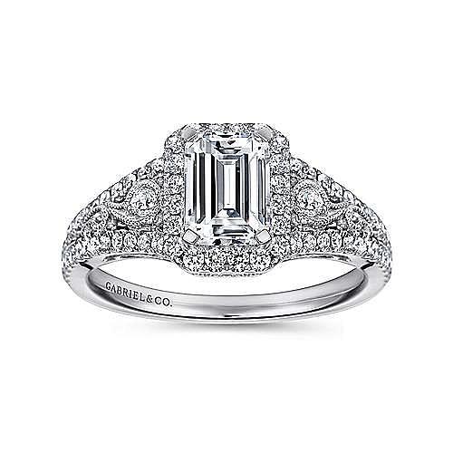 Marlena 14k White Gold Emerald Cut Halo Engagement Ring angle 5