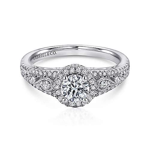Gabriel - Marlena 14k White Gold Round Halo Engagement Ring
