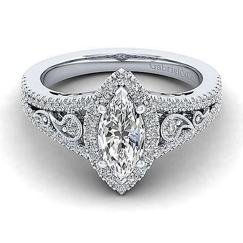 Marlena Platinum Marquise  Halo Engagement Ring angle 1
