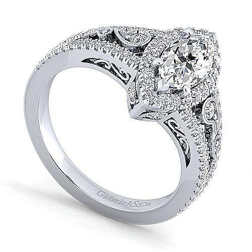 Marlena Platinum Marquise  Halo Engagement Ring angle 3