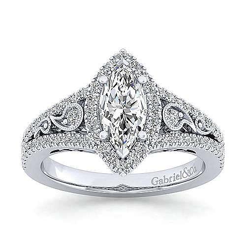 Marlena Platinum Marquise  Halo Engagement Ring angle 5