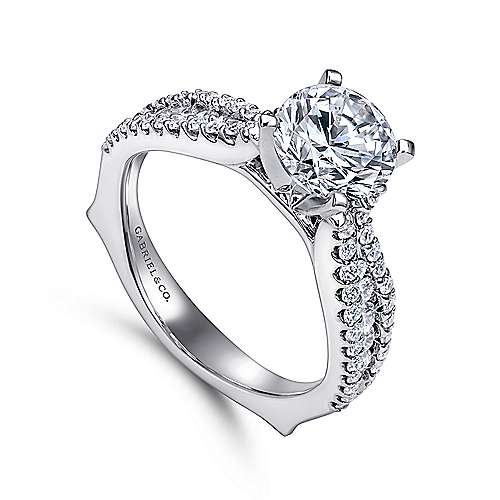 Marley 14k White Gold Round Straight Engagement Ring angle 3