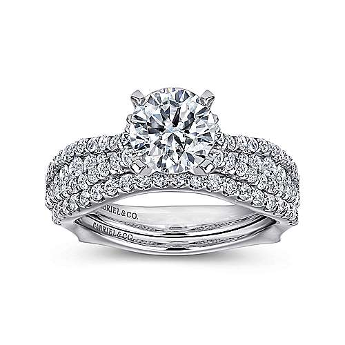 Marley 14k White Gold Round Straight Engagement Ring angle 4