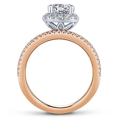 Marlow 18k White And Rose Gold Round Halo Engagement Ring angle 2
