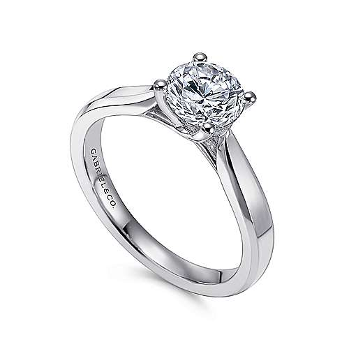 Marnie 14k White Gold Round Solitaire Engagement Ring angle 3