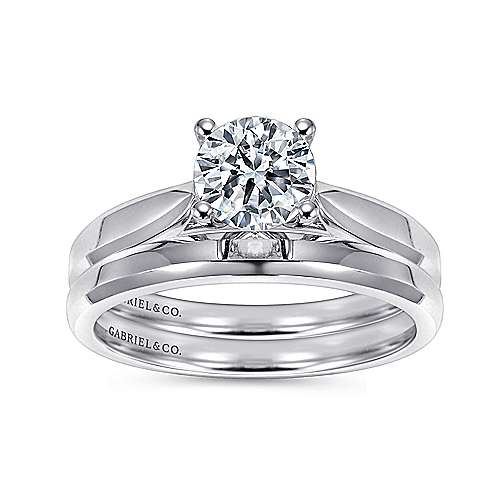 Marnie 14k White Gold Round Solitaire Engagement Ring angle 4