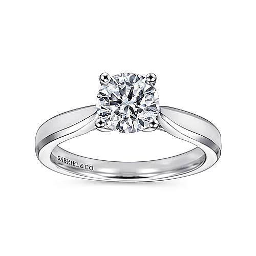 Marnie 14k White Gold Round Solitaire Engagement Ring angle 5
